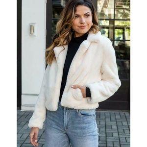 BLANKNYC White Crop Faux Fur Jacket